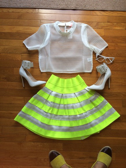 skirt striped skirt bandage skirt neon skater skirt mesh top white heels ziginy zigi white pumps