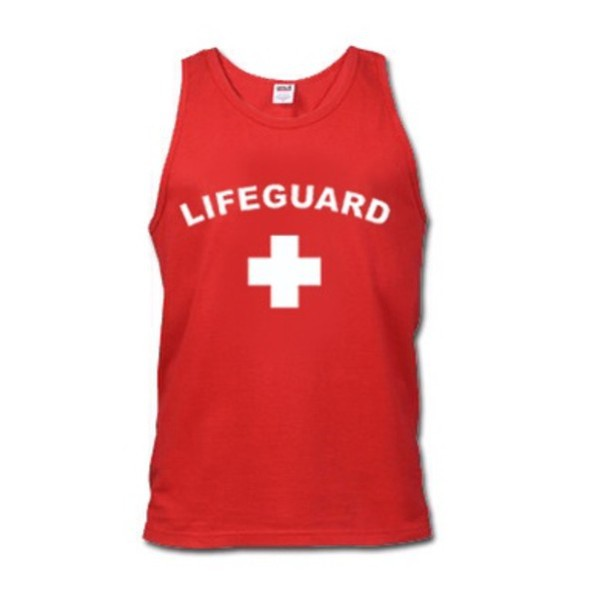 tank top mens shirt life guard red white plus sign quote on it t-shirt