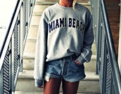 sweater,oversized sweater,dress,grey sweater,shirt,sweatshirt,tumblr,miami beach,shorts,High waisted shorts,grey miami beach sweater,long sleeves,summer,miami,grey,cool,swag,jumpsuit,beach,usa,la,blue,black,los angeles