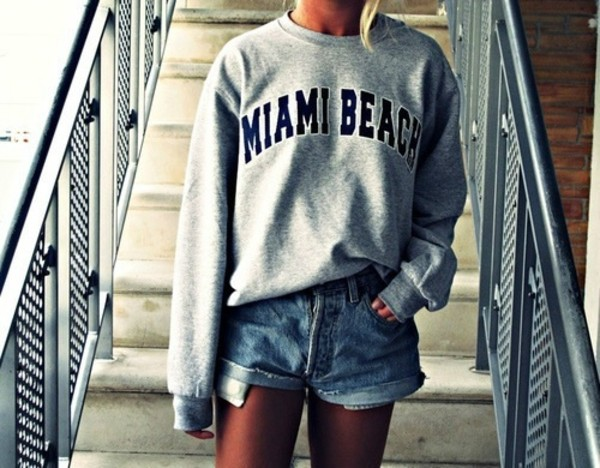 sweater oversized sweater dress sweater grey sweater shirt sweatshirt tumblr miami beach shorts High waisted shorts grey sweater grey miami beach sweater long sleeves summer miami grey sweater cool swag jumpsuit beach usa la miami blue black los angeles
