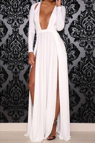 dress zaful white dress slit slit dress slitted dress
