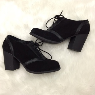 shoes suede faux suede flock stylish lace up oxfords block heel chunky heel bootie black noire