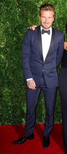 david beckham navy mens suit