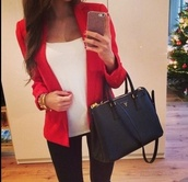 coat,blazer,red,beautiful bags,cute,classy,chic,wanted