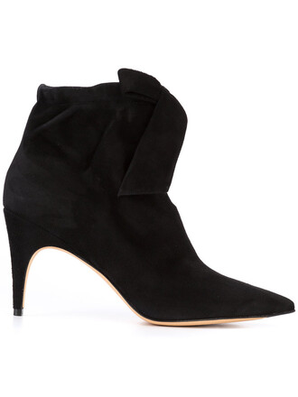 women slit boots ankle boots leather suede black shoes