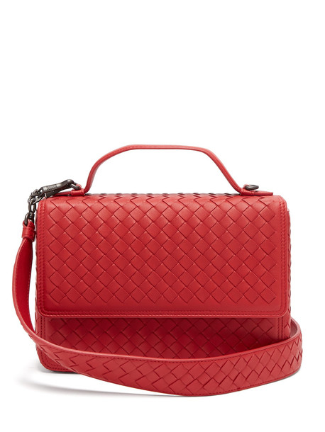 satchel leather red bag