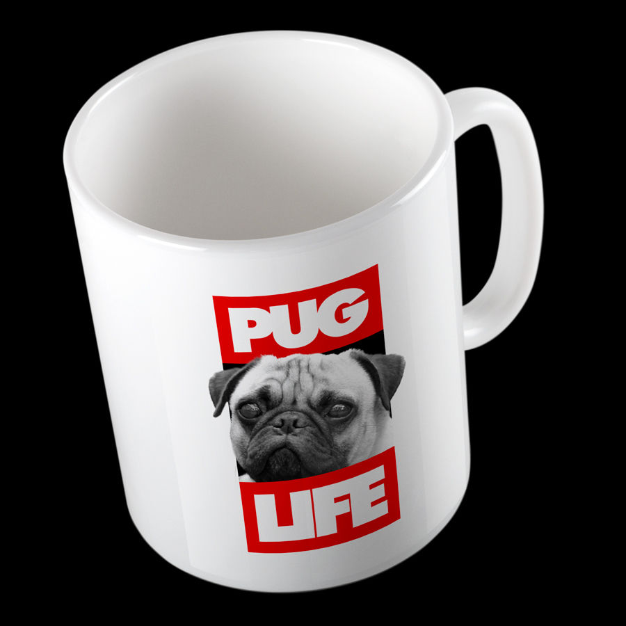 'pug life' gangster funny high quality 10oz mug great gift