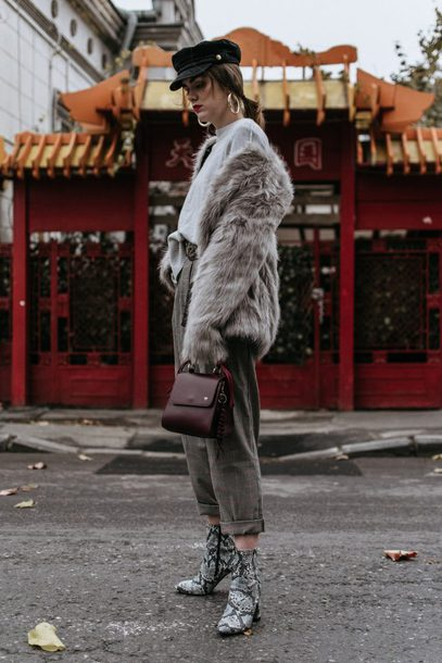 shoes tumblr boots ankle boots grey boots snake print pants grey pants all grey everything monochrome monochrome outfit jacket fur jacket faux fur jacket grey fur jacket hat fisherman cap