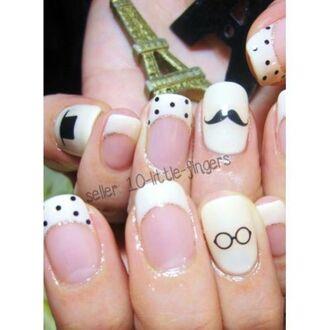 moustache nail accessories nail polish nail decoration art diy manicure pedicure polka dots frenh beige sophisticated