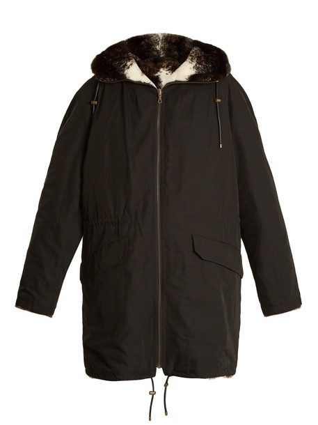 YVES SALOMON ARMY parka fur black coat