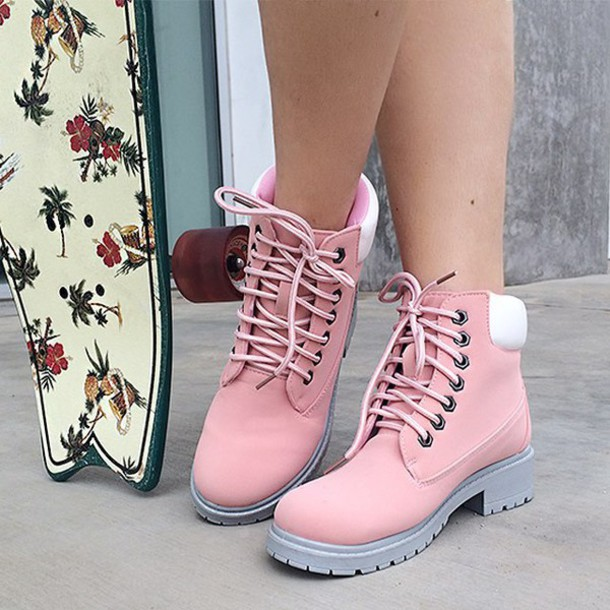 shoes, boots, pink, pink shoes, lug