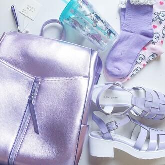 bag purple backpack shoes platform shoes platform sandals sandals grunge pastel pastel goth pastel grunge pastel bag pastel platforms