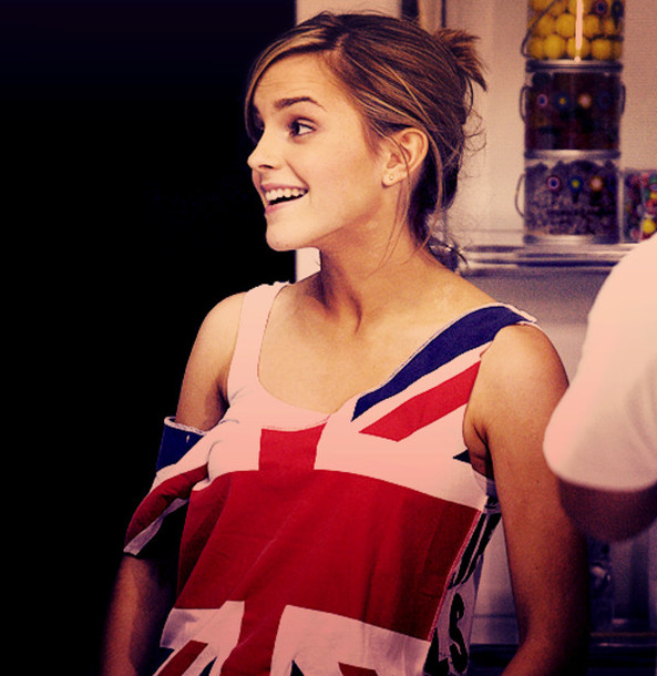 T Shirt English Flag Emma Watson Singlet Flag Clothes Top Red