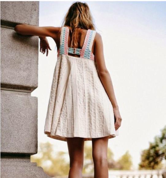 beige dress cream cool girl style