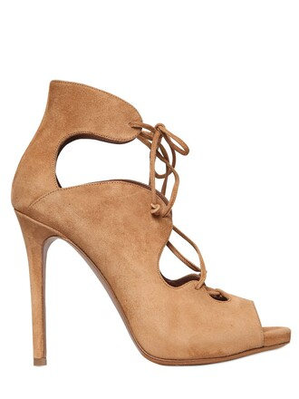boots lace suede beige shoes