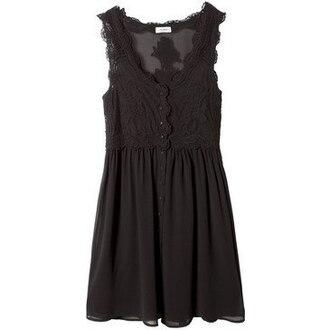 dress black dress lace dress black lace dress sheer mesh dress mesh lace pull and bear black buttons short dress