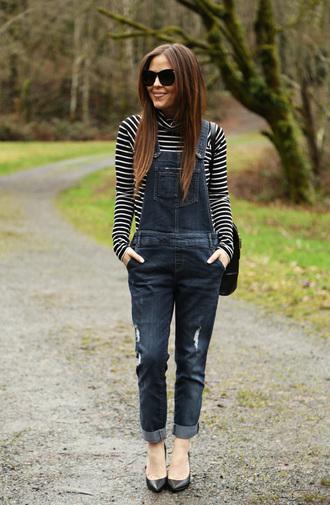 dress corilynn blogger striped sweater denim overalls