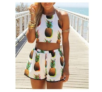 dress amazon girly shorts style nasty dress romper pineapple print pineapple summer outfits tank top white green yellow