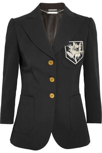blazer silk wool black jacket