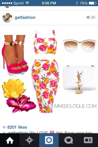 dress floral shoes sunglasses bag flowers neon