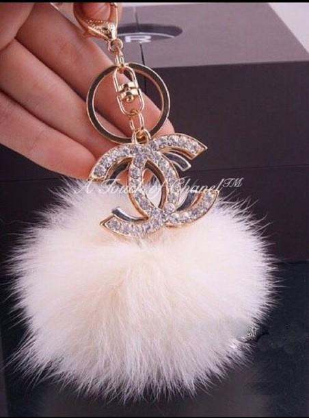 chanel fur keychain keychain home accessory bag bug fur accessories Accessory