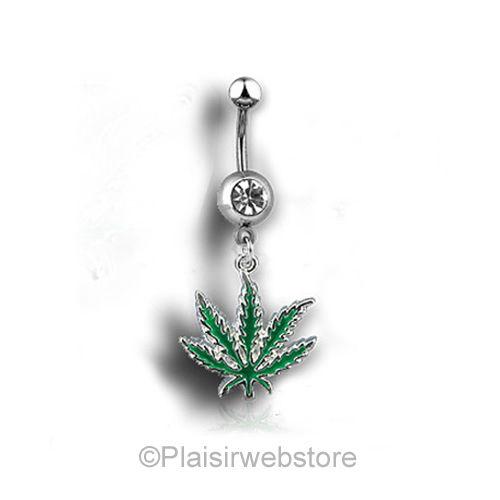 Piercing nombril feuille de cannabis vert strass
