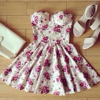 dress white dress floral dress pink flowers