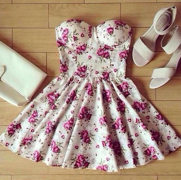 dress pink flowers floral dress white dress