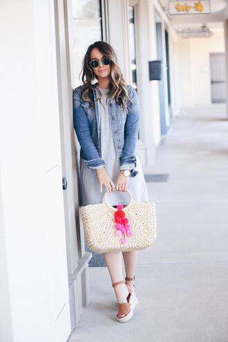 fashionably kay blogger t-shirt dress shoes jacket bag jewels sunglasses wedges straw bag basket bag denim jacket