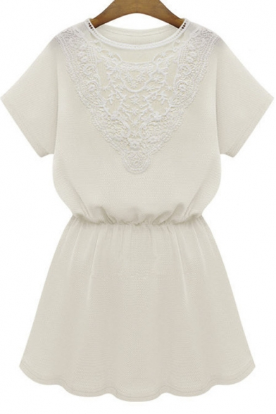 Short Sleeve Elastic Waist A-Line Mini Dress With Lace Embellish