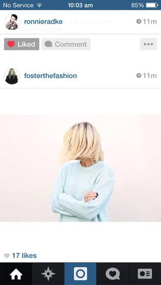 blue blue sweater light blue oversized knitwear oversized sweater