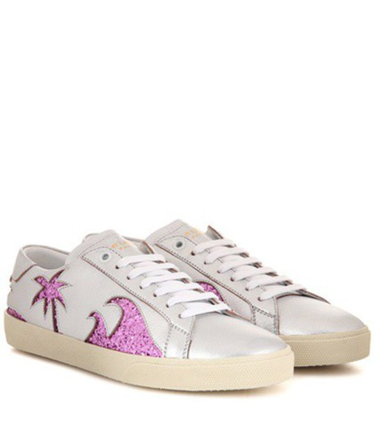 Saint Laurent Court Classic Sl/06 Sea, Sex & Sun Embellished Leather Sneakers in silver
