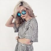 top,crop tops,crop,makeupbymandy24,amanda steele,blouse,skirt,mini skirt,glasses,sunglasses,quay,quay sunglasses,quay australia,watch,bracelets