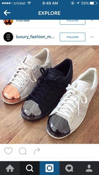 shoes adids superstar adidas gold rose gold black silver white black rosegold