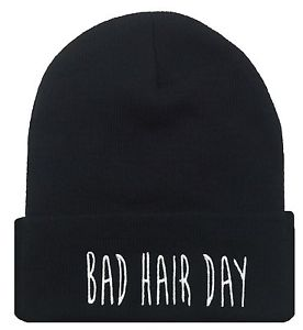New Bad Hair Day Cuffed Beanie Skull Cap Hat Hip Hop Cap Black | eBay