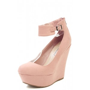 Breckelle's Cilo61 BLUSH Ankle Strap Round Toe Suede Wedges and Shop Shoes at MakeMeChic.com