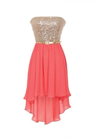 dress coral high low strapless gold sparkly