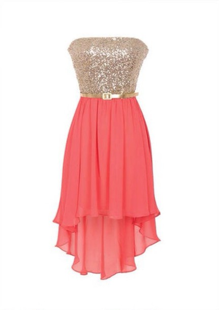 dress coral high low strapless gold sparkle