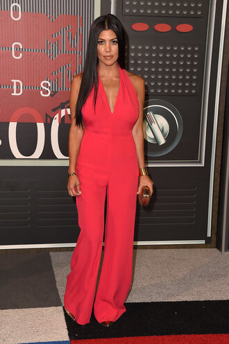 jumpsuit top red pants kourtney kardashian plunge v neck vma pumps shoes