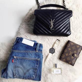 style scrapbook blogger jeans bag jewels