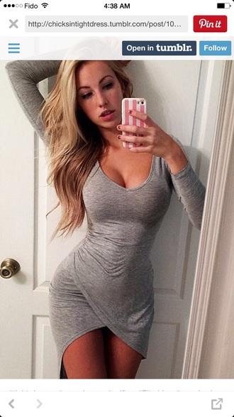 dress grey dress jersey dress vneck dress