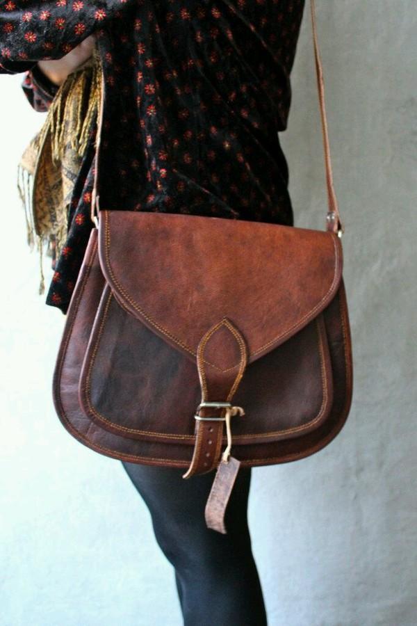 bag brown bag brown purse over the shoulder purse boho chic brown leather bag small vintage