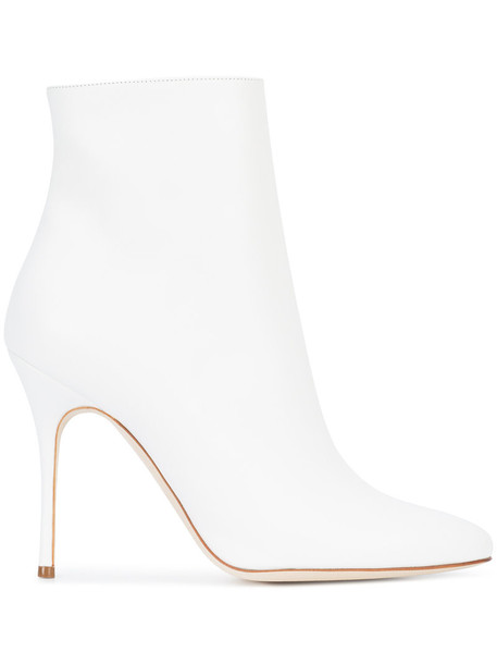 Manolo Blahnik women ankle boots leather white shoes