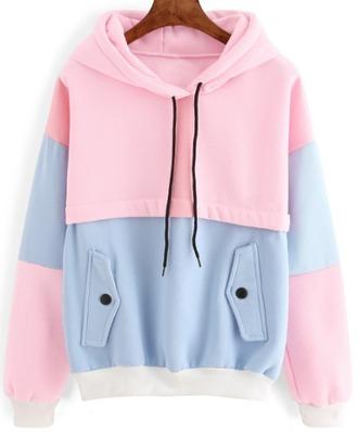 sweater girl girly girly wishlist pink blue hoodie colorblock sweatshirt comfy