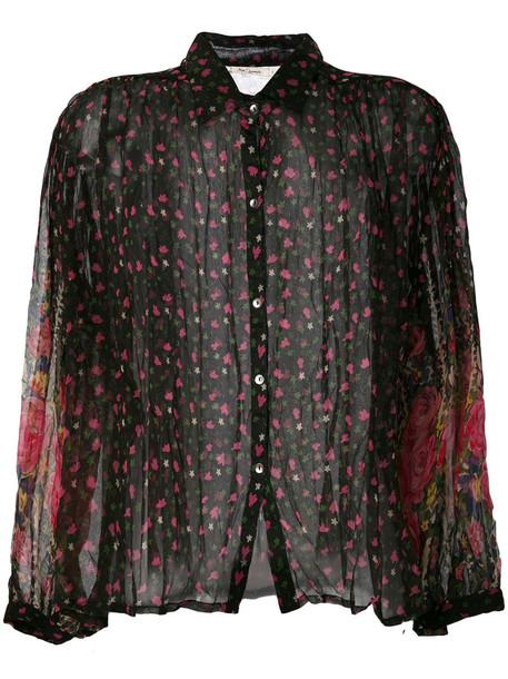 shirt floral shirt sheer women floral cotton black top
