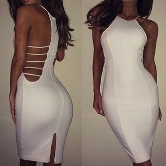 dress white dress halter dress