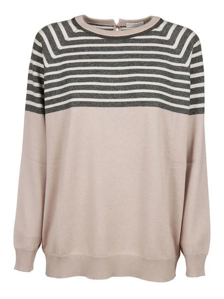 BRUNELLO CUCINELLI sweater knitted sweater black beige