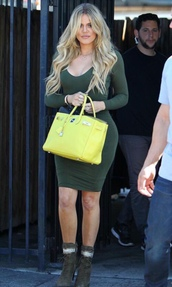 dress,green boots,All military green outfit,chloe kardashian,bodycon dress,green dress,long sleeve dress,bag,yellow bag,boots,celebrity