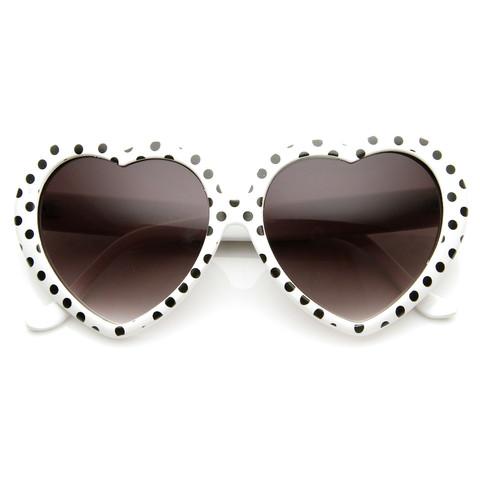 Womens Cute Polka Dot Heart Shaped Fashion Sunglasses 8982                             zeroUV
