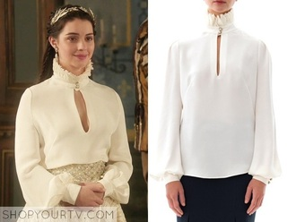 blouse reign white slit high collar elizabeth chest slit alexander mcqueen